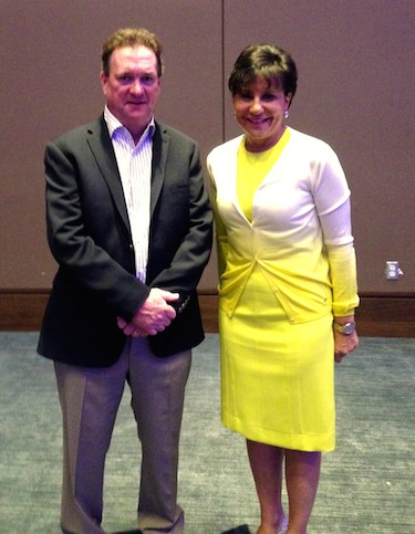 Jim Carroll and US Secretary of Commerce Penny Pritzker, backstage at the TheBigM - Manufacturing Convergence conference in Detroit.